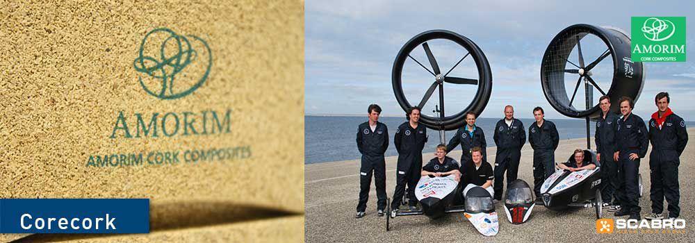 CoreCork NL20 in glasvezel/epoxy laminaat in de buitenhuid van de door Scabro gesponsorde Team Antarctica 4WD van Hgeschool Utrecht tijdens een proefritje in Finland 2012